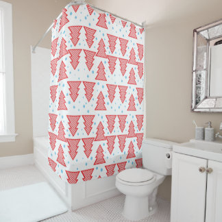 Pine tree and snows Christmas pattern Shower Curtain