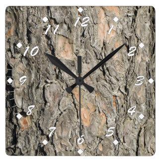 Pine Tree Bark Square Wall Clock