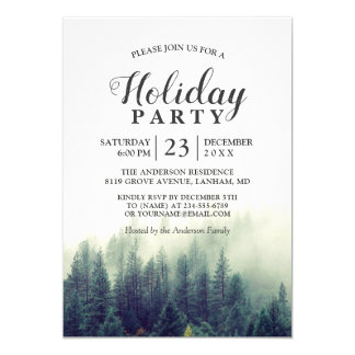 Pine Tree Forest Woodland Holiday Party Card