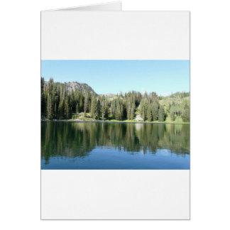 pine tree mirror on lake greeting card