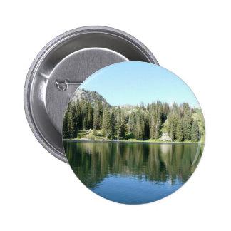 pine tree mirror on lake pinback buttons