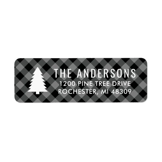 Pine Tree Return Address | Grey Buffalo Plaid Return Address Label