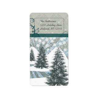 Pine Tree Snow Gray Damask Return Address Address Label