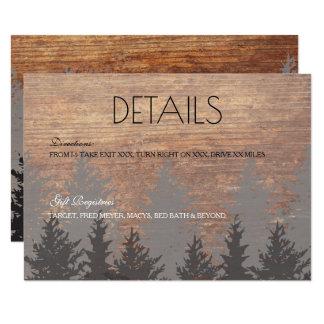 Pine Tree Wedding Details Card