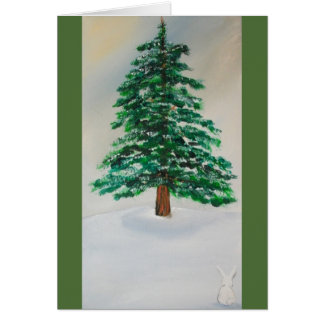 Pine Tree winter holiday greeting card