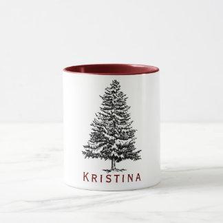 Pine Tree with Name Mug