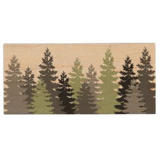 Pine Tree with Name Wood USB Flash Drive