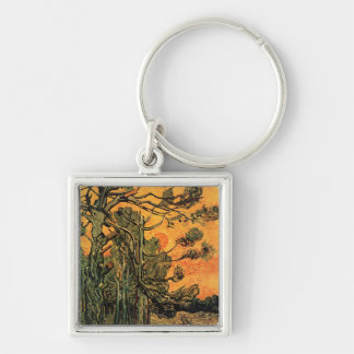 Pine Trees Against a Red Sky Key Ring