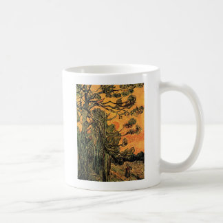 Pine Trees against a Red Sky with Setting Sun. Coffee Mug