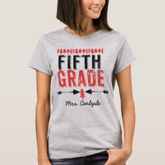 Pine Trees and Arrows Fifth Grade Teacher T-shirt