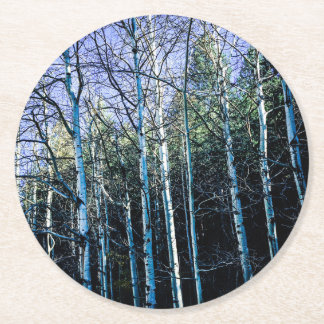 Pine trees and aspens in fall round paper coaster