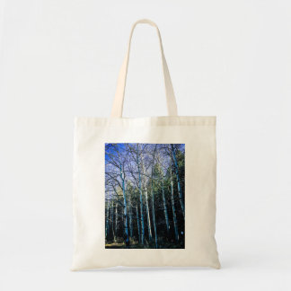 Pine trees and aspens in fall tote bag