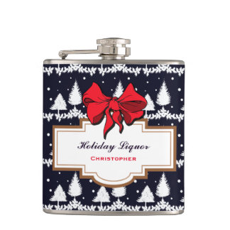 Pine Trees and Snow Custom Holiday Hip Flask