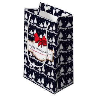 Pine Trees and Snow Happy Holiday Season Family Small Gift Bag