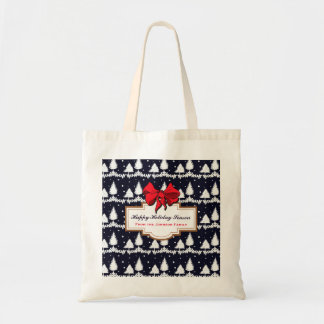 Pine Trees and Snow Happy Holiday Season Family Tote Bag