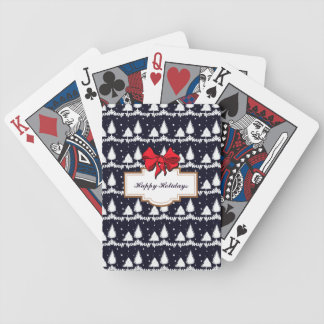 Pine Trees and Snow Happy Holidays Bicycle Playing Cards