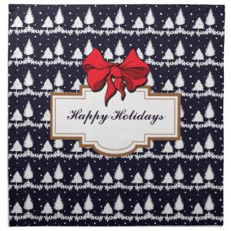 Pine Trees and Snow Happy Holidays Napkin