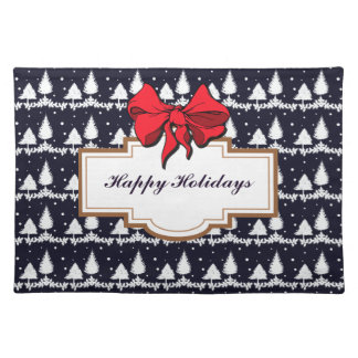 Pine Trees and Snow Happy Holidays Placemat