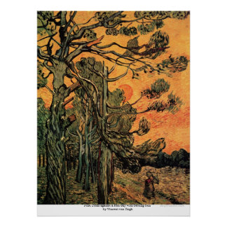 Pine Trees at Sunset by Vincent van Gogh Poster