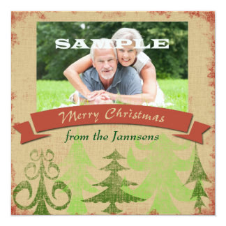 Pine Trees Border Merry Christmas Card