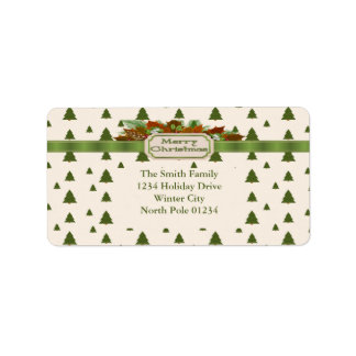 Pine Trees with Merry Christmas Ribbon Address Label