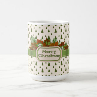 Pine Trees with Merry Christmas Ribbon Coffee Mug