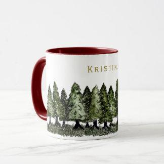 Pine Trees with Name Mug