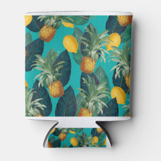 pineaple and lemons teal can cooler