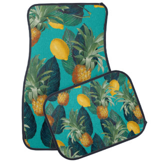 pineaple and lemons teal car mat