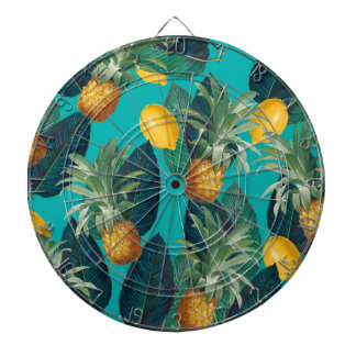 pineaple and lemons teal dartboard