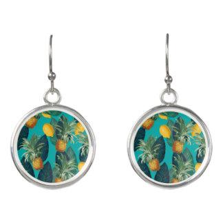 pineaple and lemons teal earrings