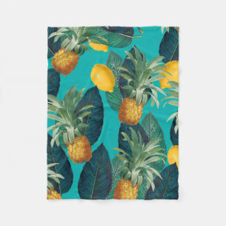 pineaple and lemons teal fleece blanket