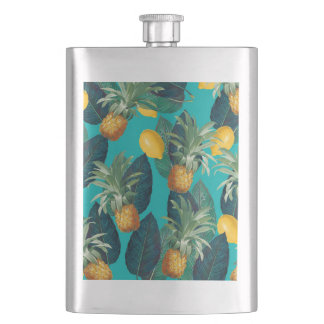 pineaple and lemons teal hip flask