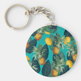pineaple and lemons teal key ring