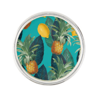 pineaple and lemons teal lapel pin