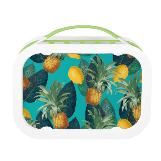 pineaple and lemons teal lunchbox