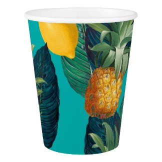 pineaple and lemons teal paper cup