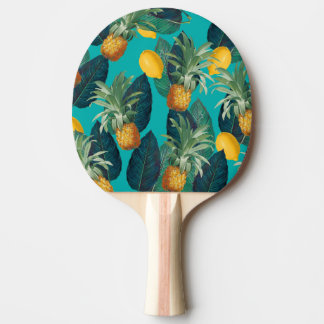 pineaple and lemons teal ping pong paddle