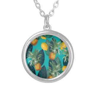 pineaple and lemons teal silver plated necklace