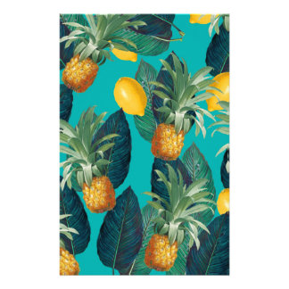 pineaple and lemons teal stationery