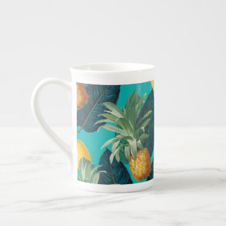 pineaple and lemons teal tea cup