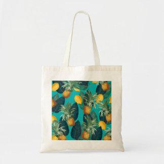 pineaple and lemons teal tote bag