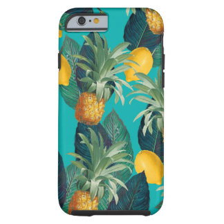 pineaple and lemons teal tough iPhone 6 case