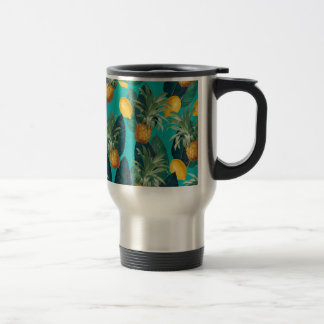 pineaple and lemons teal travel mug