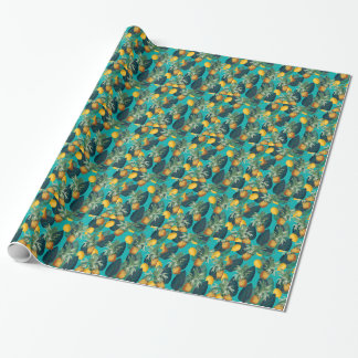 pineaple and lemons teal wrapping paper