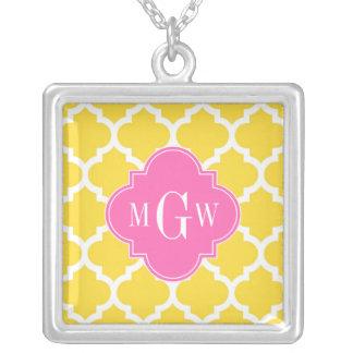 Pineaple Moroccan #5 Hot Pink2 3 Initial Monogram Jewelry
