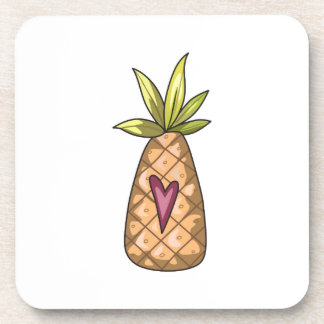 Pineapple And Heart Beverage Coasters