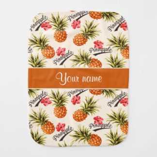 Pineapple and Hibiscus Baby Burp Cloth