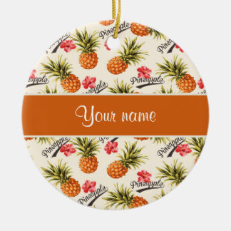 Pineapple and Hibiscus Ceramic Ornament