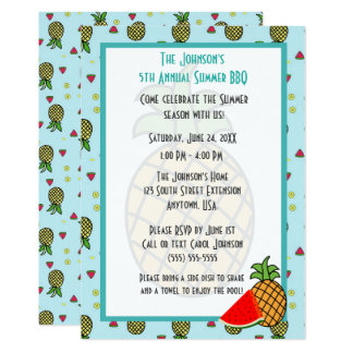 Pineapple and Watermelon Pattern Summer BBQ Card